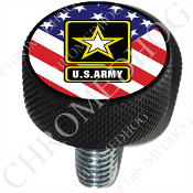 Harley Custom Seat Bolt - L KN Black Billet - Army Logo Flag