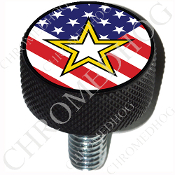 Harley Custom Seat Bolt - L KN Black Billet - Army Star Flag