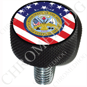 Harley Custom Seat Bolt - L KN Black Billet - Army Dept Flag