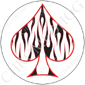 Premium Round Decal - Spade - Black Flame - White/ White