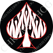 Premium Round Decal - Spade - Black Flame - White/ Black