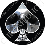 Premium Round Decal - Spade - Chrome Skull - Black