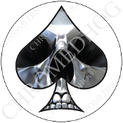 Premium Round Decal - Spade - Chrome Skull - White