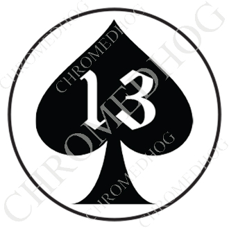 Premium Round Decal - Spade 13 - Black/ White