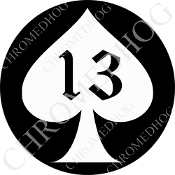 Premium Round Decal - Spade 13 - White/ Black