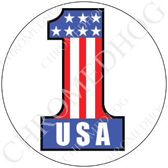 Premium Round Decal - #1 USA - White