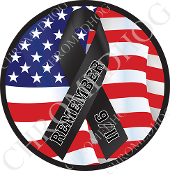 Premium Round Decal - 9/11 Black Ribbon Flag