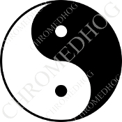 Premium Round Decal - Yin Yang - Black/ White