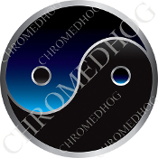 Premium Round Decal - Yin Yang - Black/ Blue