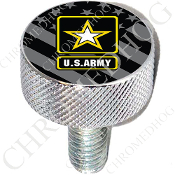 Harley Custom Seat Bolt - L KN Chrome Billet - Army Logo G Flag