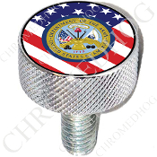 Harley Custom Seat Bolt - L KN Chrome Billet - Army Dept US Flag