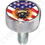 Harley Custom Seat Bolt - L KN Chrome Billet - FF - US Flag T