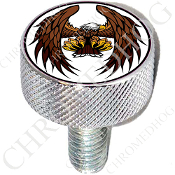 Harley Custom Seat Bolt - L KN Chrome Billet - Eagle - Flying W