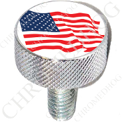 Harley Custom Seat Bolt - L KN Chrome Billet - Flag - American