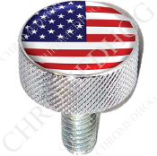 Harley Custom Seat Bolt - L KN Chrome Billet - Flag - USA 1