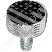 Harley Custom Seat Bolt - L KN Chrome Billet - Flag - Ghost USA