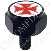 Harley Custom Seat Bolt - Hex Black Billet - Iron Cross - Red/Wt