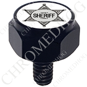Harley Custom Seat Bolt - Hex Black Billet - Sheriff Badge White