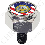 Harley Custom Seat Bolt - Hex Silver Billet - Army Dept US Flag