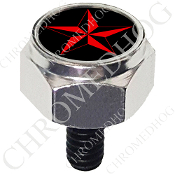 Harley Custom Seat Bolt - Hex Silver Billet - Star - Red/Black