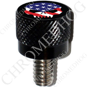 Harley Custom Seat Bolt - S KN Black Billet - Skull Evil Flag B