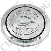 5 Hole Derby Cover - Chrome With Chrome Flames