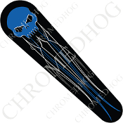 06-07 FLHX Street Glide Dash Insert Decal - Skull Evil Blue PS1B
