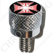 Harley Custom Seat Bolt - S KN Chrome Billet - Iron Cross RFWB