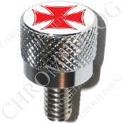 Harley Custom Seat Bolt - S KN Chrome Billet - Iron Cross Red/W